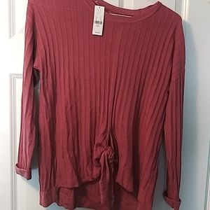 New york and co tie front sweater nwt